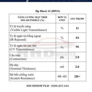 Thông số kỹ thuật sản phẩm mẫu phim cách nhiệt HP10