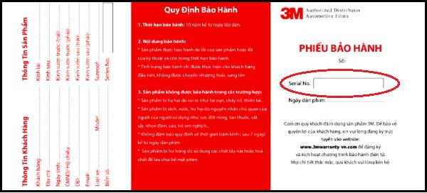  Bảo Hành Điện Tử: khách hàng hãy yêu cầu đại lý dán film cung cấp mã số dùng để tham gia chương trình ' bảo hành điện tử của 3M'