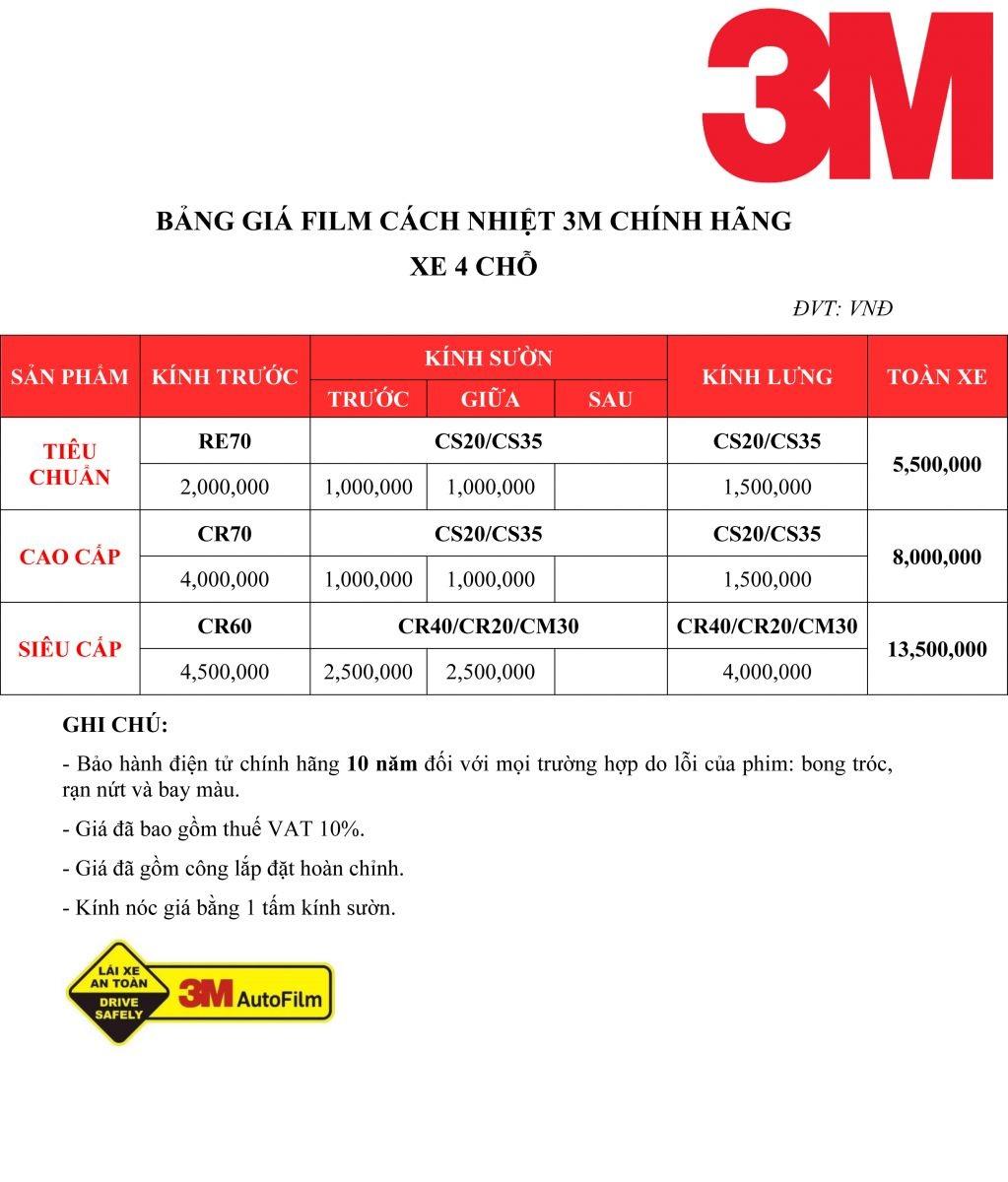 Bảng giá dán phim cách nhiệt 3M cho xe hơi 4 chỗ