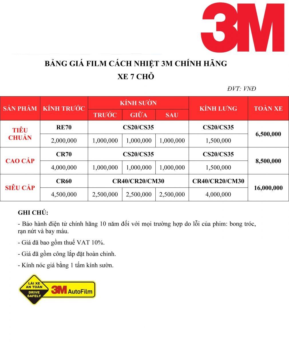 Bảng giá dán phim cách nhiệt 3M chính hãng cho xe 7 chỗ