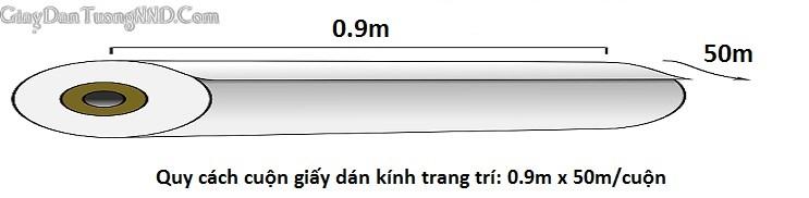 Quy cách cơ bản của cuộn giấy dán kính hoa văn trang trí là dài 45m x rộng 0.9m