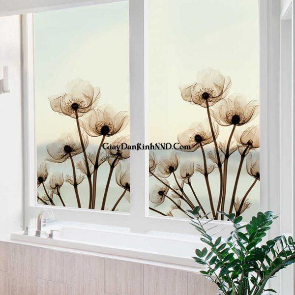 In decal mờ dán kính cửa sổ hình hoa