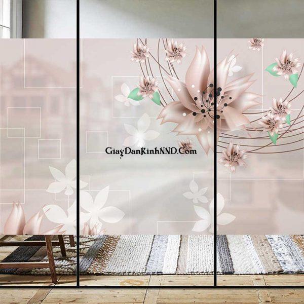 Cửa thông phòng dán tranh kính 3D hình hoa in trên nền decal mờ ấn tượng độc đáo