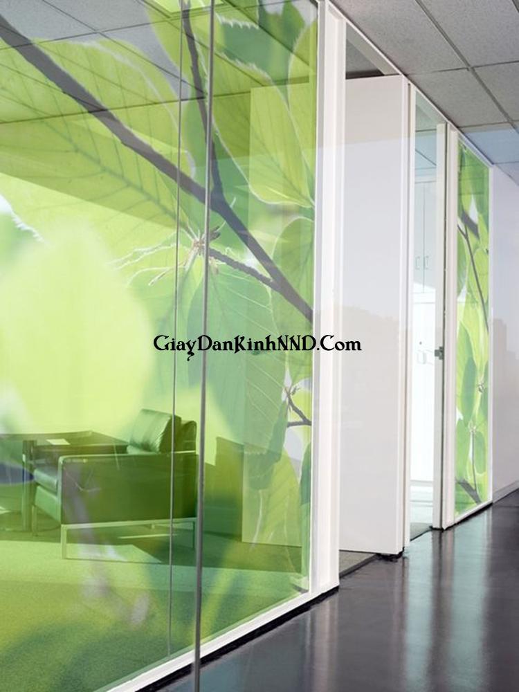 Vách ngăn văn phòng in tranh 3D hình lá cây trên nền decal mờ