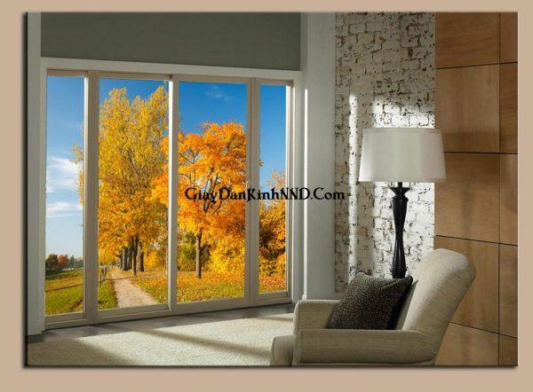 Tranh phong cảnh mùa thu dán kính cho phòng ngủ đẹp