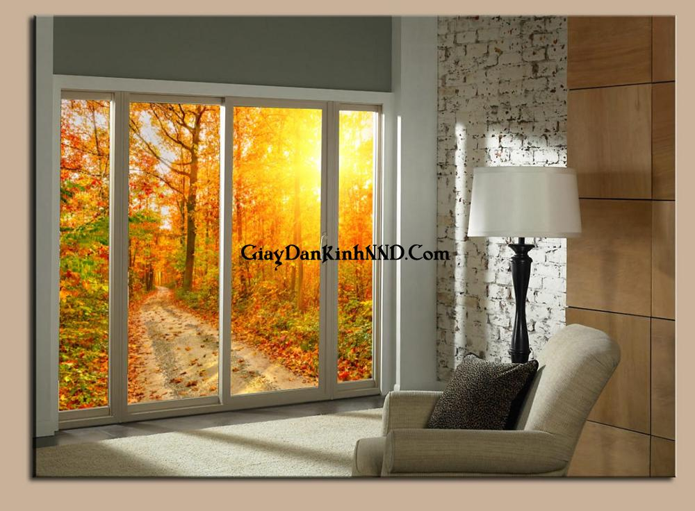 Tranh dán kính phong cảnh mùa thu buồn và đẹp.
