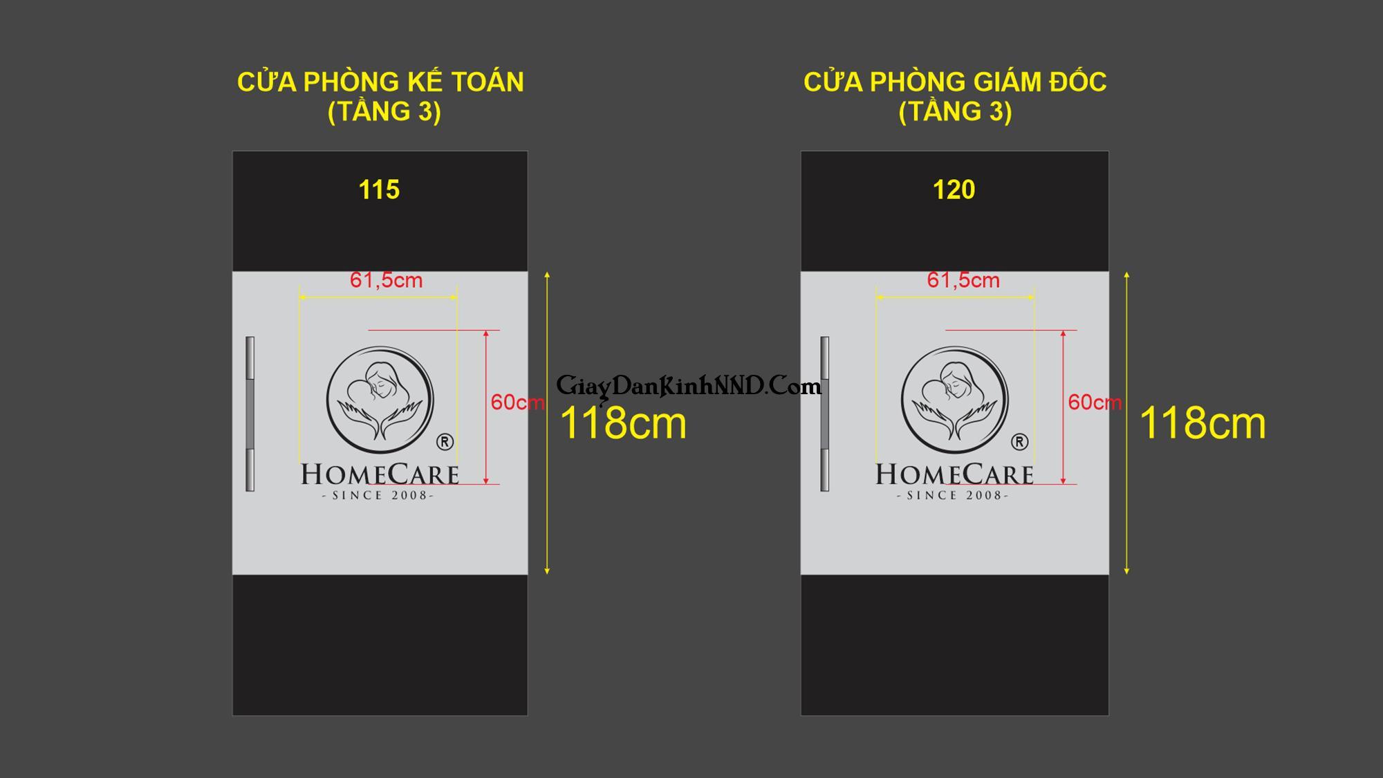 Market dán kính mờ cắt logo văn phòng spa Home Care.