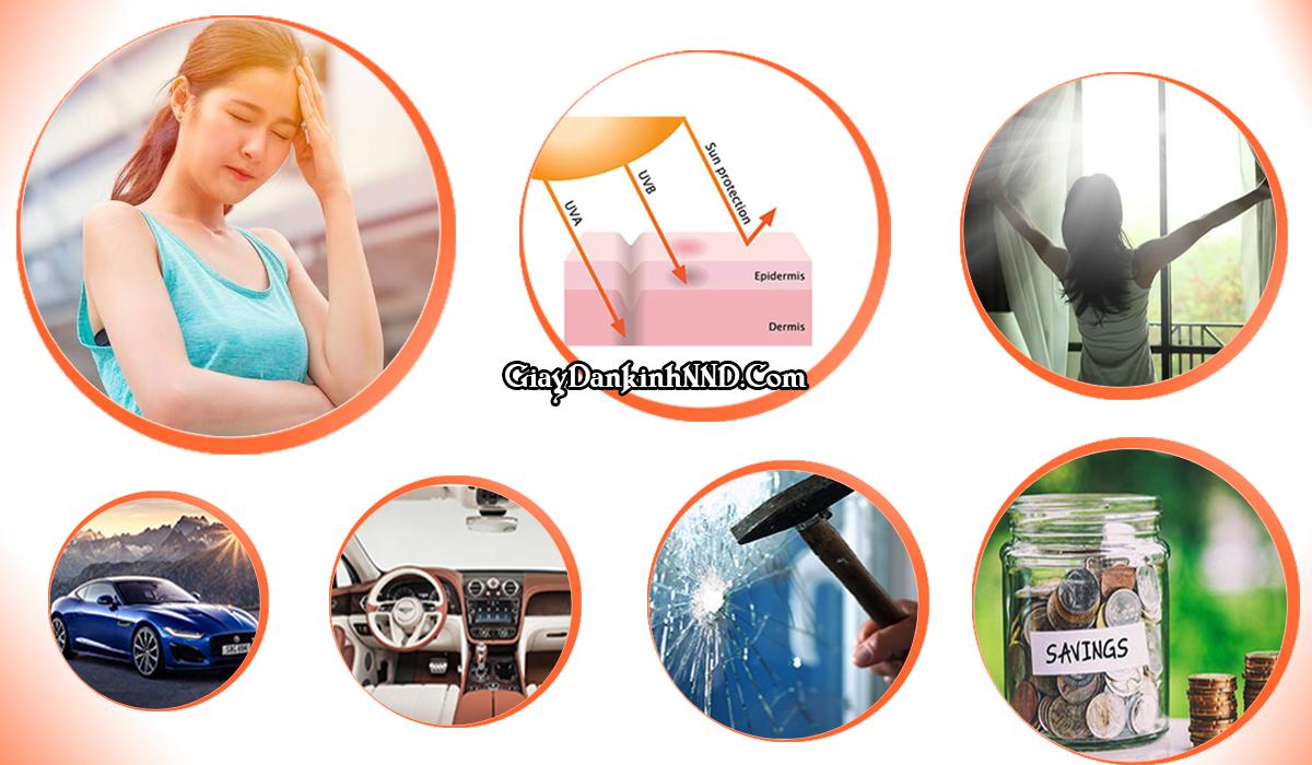 Phim cách nhiệt có 7 tác dụng chính, trong đó chống nắng, chống UV, chống chói là 3 tác dụng nổi bật nhất.