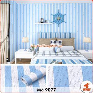 Decal kẻ sọc trắng xanh dán tường mã 9077
