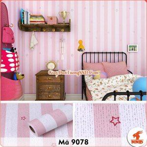 Decal dán tường kẻ sọc trắng hồng mã 9078