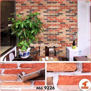 Decal dán tường giả gạch đỏ 3D mã 9226