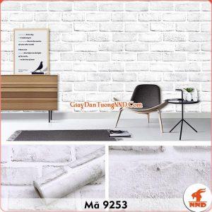 Decal dán tường 3D giả gạch trắng mã 9253