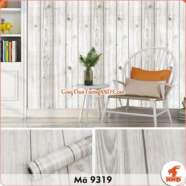 Decal dán tường giả gỗ trắng 3D mã 9319