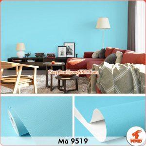 Decal dán tường trơn vân sần màu xanh dương mã 9519