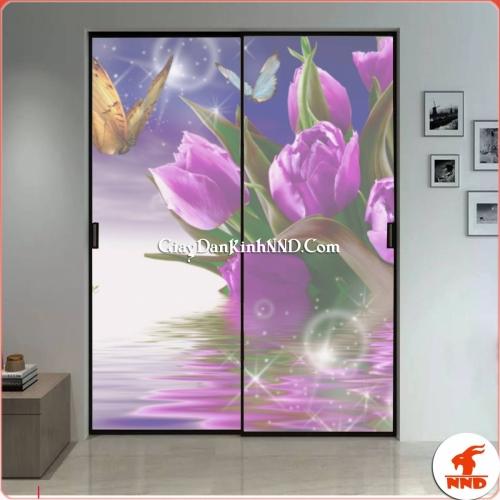 Tranh 3D dán kính hình hoa trang trí cho cửa 2 cánh
