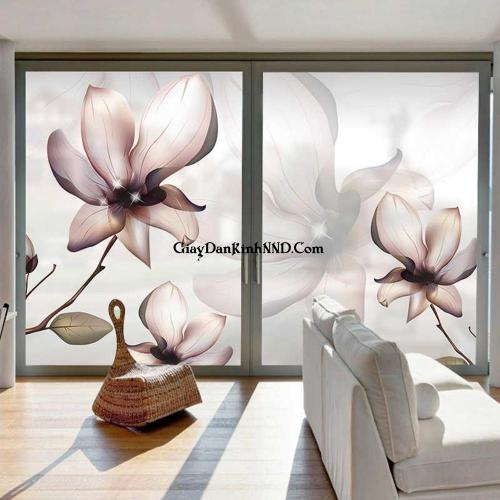 In tranh dán kính hình hoa cho cửa kính đẹp